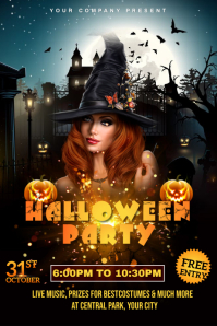 Halloween Bar Club Party Night Poster, Hallow Banner 4 x 6 fod template