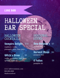 Halloween Bar Flyer Menu template