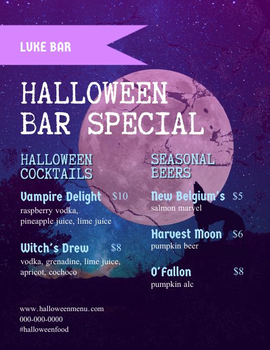Halloween Bar Flyer Menu template