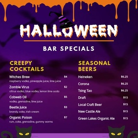 Halloween Bar Menu Video Square (1:1) template