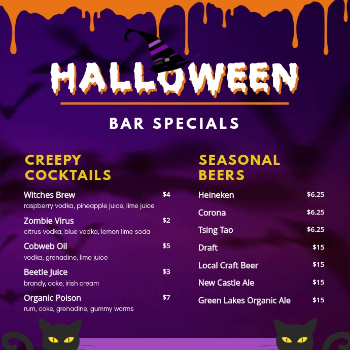 Halloween Bar Menu Video