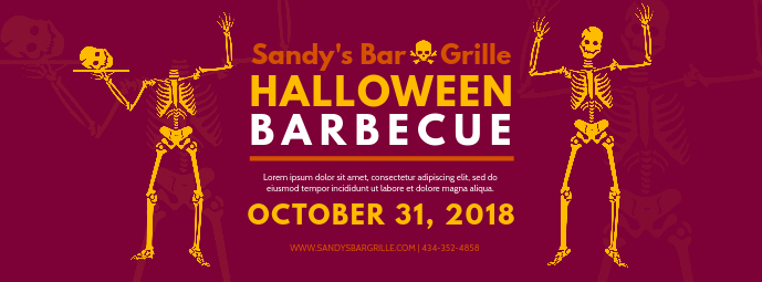 Halloween Barbecue Event Facebook Banner Template