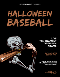 Halloween baseball flyer design template
