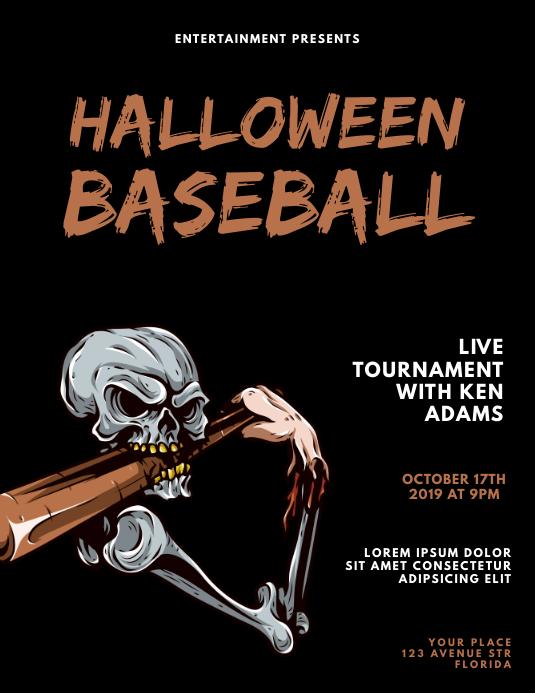 Halloween baseball flyer design template