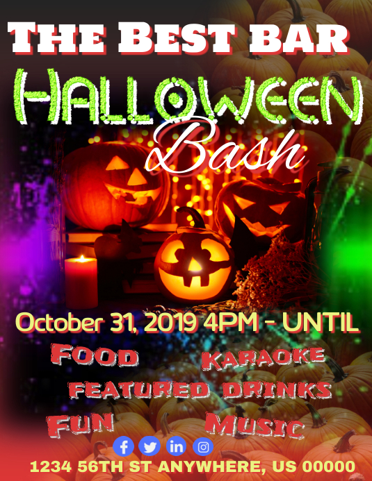 Halloween Bash Folheto (US Letter) template
