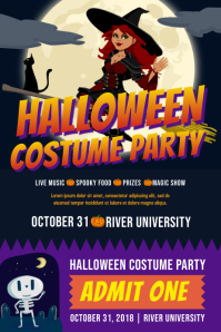 Halloween Bash Poster and Ticket Template