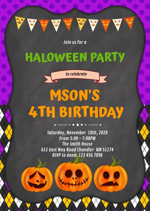 Halloween birthday invitation A6 template