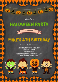 Halloween birthday invitation A6 template