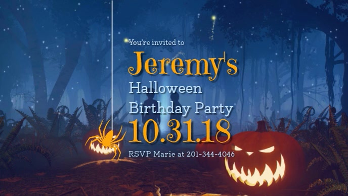 Halloween Birthday Party Facebook Cover Video Template Postermywall