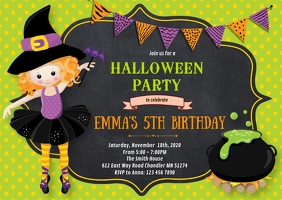 Halloween birthday party invitation A6 template