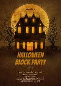 Halloween block invitation A6 template