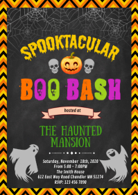 Halloween Boo bash party invitation A6 template