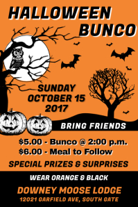 Halloween Bunco Color Poster template