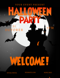 Halloween Castle Party Flyer template