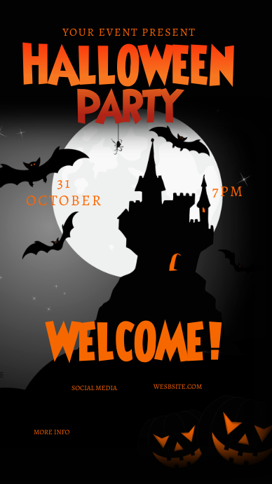Halloween Castle Party Instagram Story Flyer template