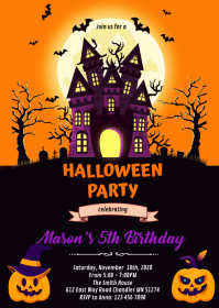 Halloween castle party invitation A6 template