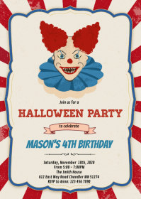Halloween clown birthday party invitation A6 template