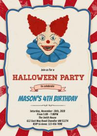 Halloween clown birthday party invitation A6 template