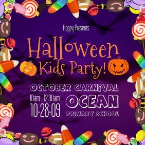 Halloween Colorful Kids Party Square Video