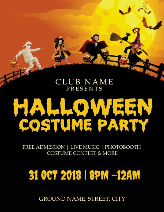Halloween costume party ใบปลิว (US Letter) template