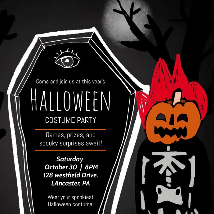 Halloween Costume party Vierkant (1:1) template