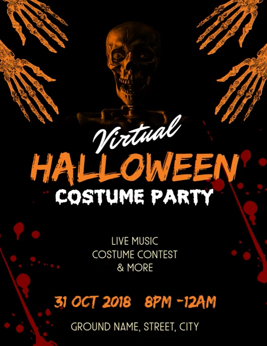 Halloween costume party Flyer (US Letter) template