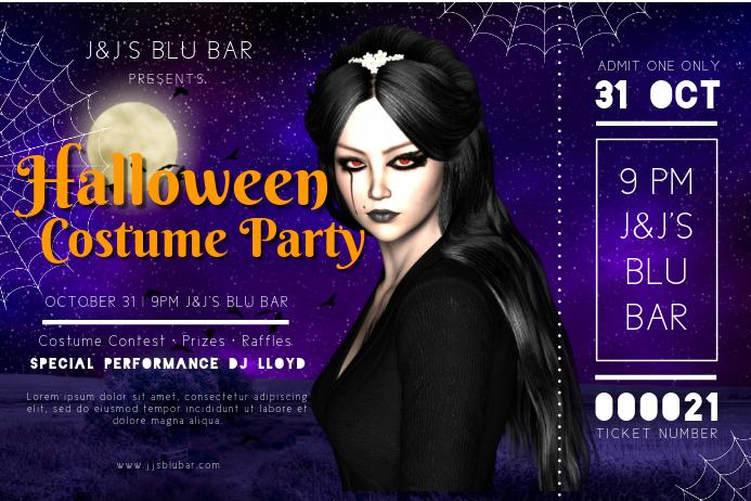 Halloween costume Party DJ Event Poster Template Plakat