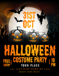 Halloween Costume party invitation template Løbeseddel (US Letter)