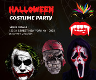 halloween costume party large rectangle template