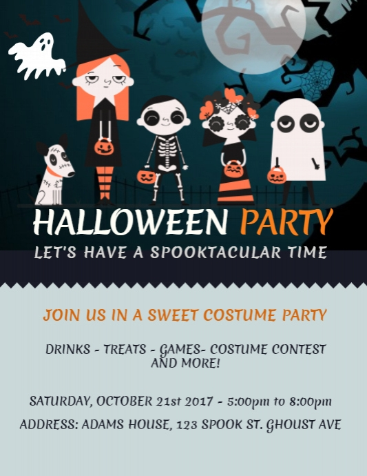 Halloween Costume Party Flyer Template Рекламная листовка (US Letter)
