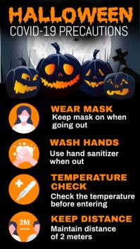 Halloween covid-19 precautions Digital na Display (9:16) template