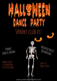 Halloween dance party flyer template video A4