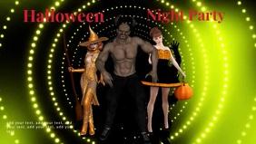Halloween dance template Video Sampul Facebook (16:9)