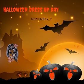Halloween day dress up party Instagram na Post template