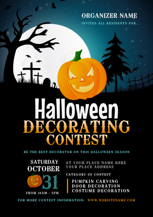 Halloween Decorating Contest Flyer A4 template