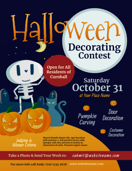 Halloween Decorating Contest Flyer Løbeseddel (US Letter) template