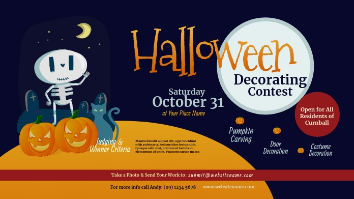 Halloween Decorating Contest Twitter Post Twitter-bericht template