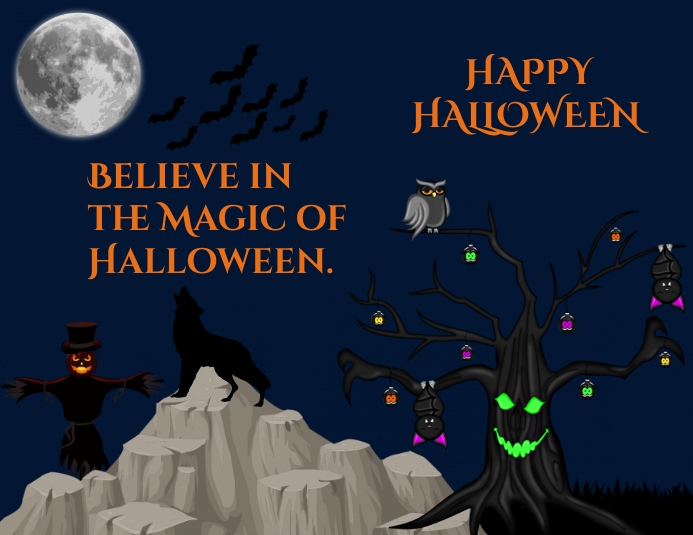Halloween ใบปลิว (US Letter) template