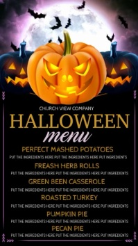 Halloween digital display, dinner menu template