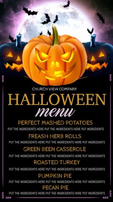 Halloween digital display, dinner menu Ekran reklamowy (9:16) template