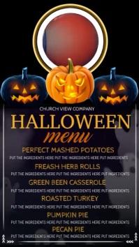 Halloween digital display dinner menu template