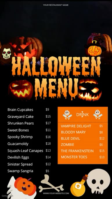 Halloween Digital Display Video Menu