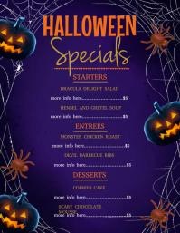 Halloween dinner menu Volante (Carta US) template