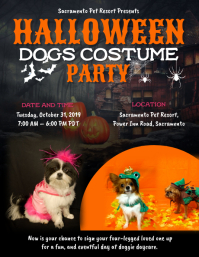 Halloween Dogs Costume Party Flyer Template