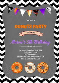 Halloween donut party birthday Invitation A6 template