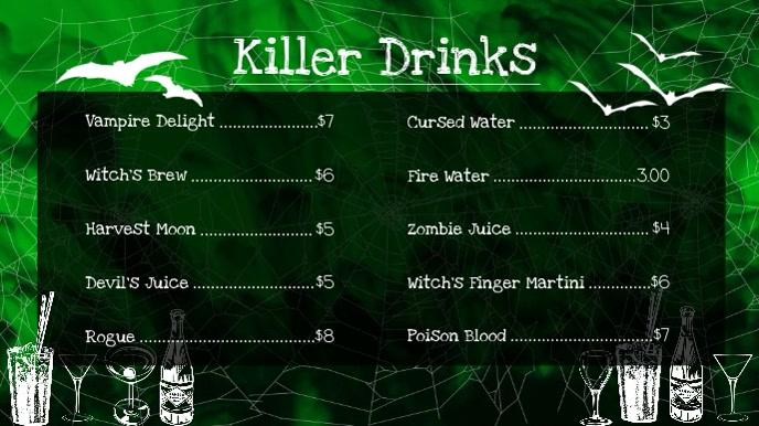 Halloween Drinks Digital Display Video Menu
