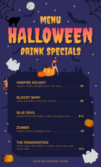 Halloween Drinks US Legal Menu