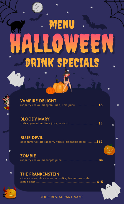 Halloween Drinks US Legal Menu template