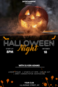 Halloween event party flyer template Póster