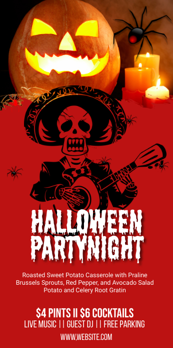 Halloween Event Party Roll Up Banner Template Rolbanner 3' × 6'